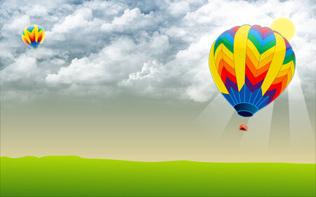 Hot air ballon in sky - Stock Image