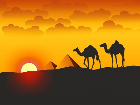 Camels and Pyramids - Stock Illustration