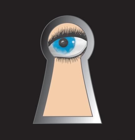 Peek through keyhole - Stock Image Stock Photo