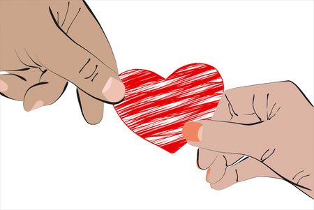 Heart in Two Hands - Stock Illustration Stock Photo