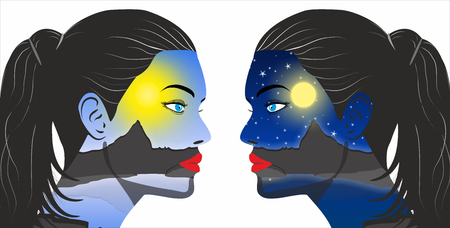Day and night concept in the women face- Illustration
