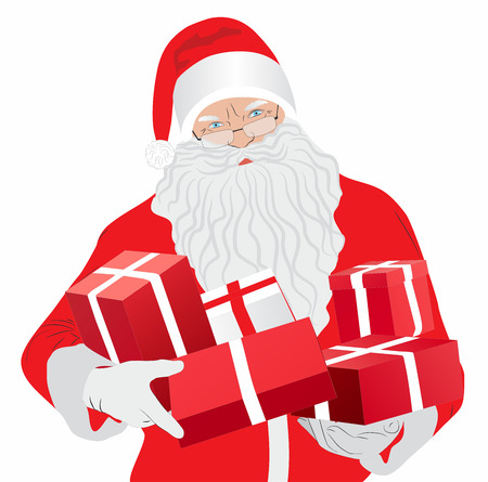 Santa Claus with gifts - Illustration Stock Photo