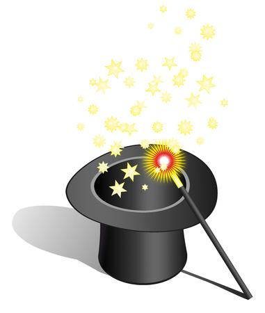 Magic hat and wand - Stock Image