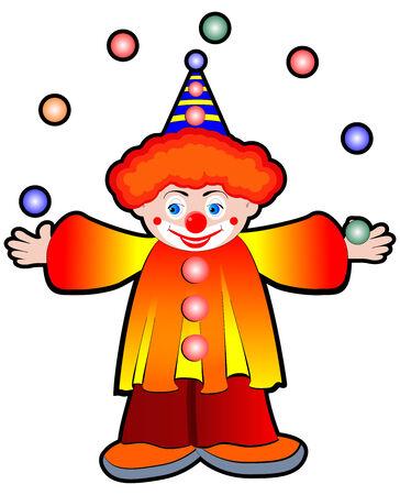 Clown Juggler with balls - Stock Illustration Stock Photo