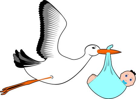 Stork  with baby boy - Stock Illustaration Stock Photo