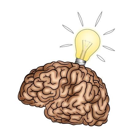 Creative Brain with light bulb - Illustration Stock Photo