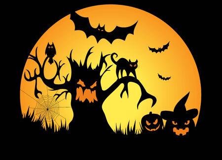 Full moon halloween night with pumpkins - Illustration