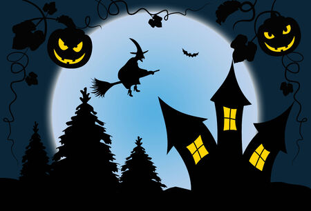 Full moon blue halloween night with witch - Illustration