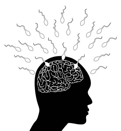 ejaculation: Sperm attack the brain - Illustration Stock Photo