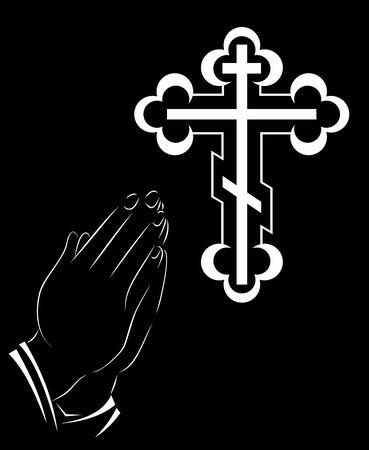 Praying Hands and orthodox cross - Illustration illustration