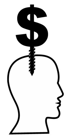 A man with a bolt head and a dollar sign - Illustration Stock Photo