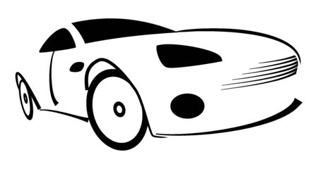 Racing car silhouette - Illustration on white