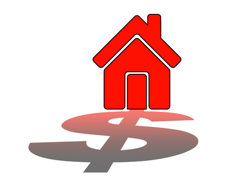 Real Estate Finance. Home with dollar - Stock Image