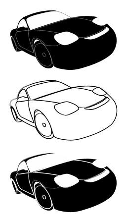 Set of racing cars black on white - Stock Illustration