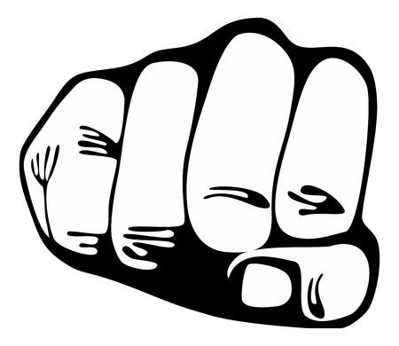 Punching  power fist - Stock Image black on white