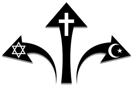 Arrows and religious symbols - Stock Illustration