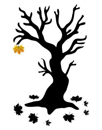 Autumn Tree with the last leaf - Stock Illustration