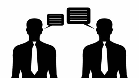 Business Communication. Two speaking mens - Stock Image