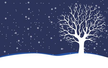 Bare tree. Winter- Stock Illustration Stock Photo