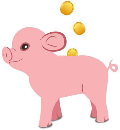Pink pig piggy bank on a white background