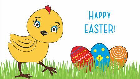 cartoon orange: Happy Easter. Cute chicken cartoon characters illustrations.