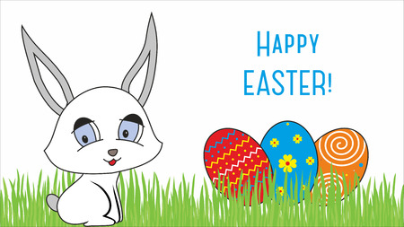 Easter design with cute banny and text Stock Photo