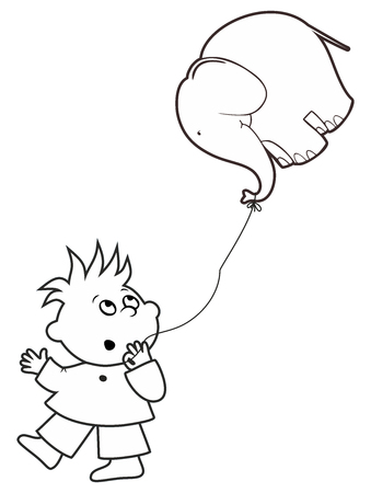 baby announcement card: Vector boy holding a ball in the form of an elephant in his hand