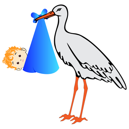 cute: Vector stork with baby boy on white background