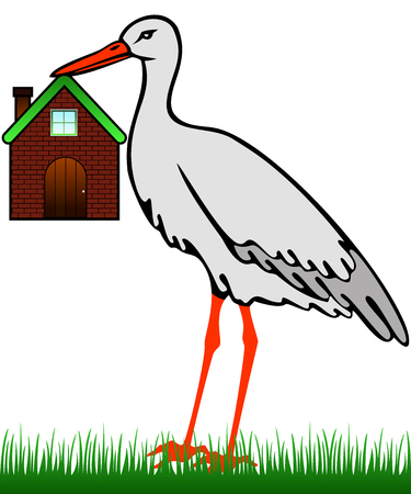 A stork in the grass holding a house in its beak Illustration
