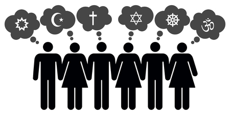 jewish star: Vector people of different religions on white background Illustration