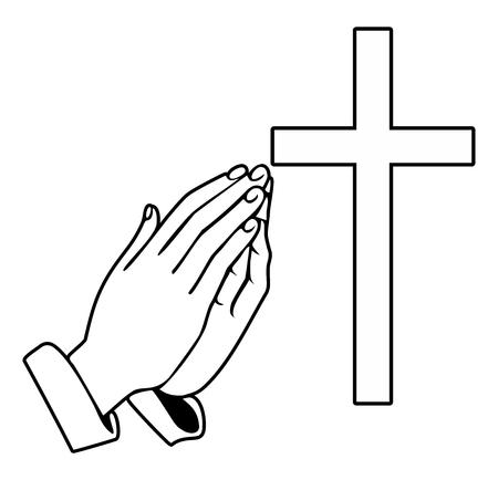 Biddende handen en orthodoxe kruis - Vectorillustratie