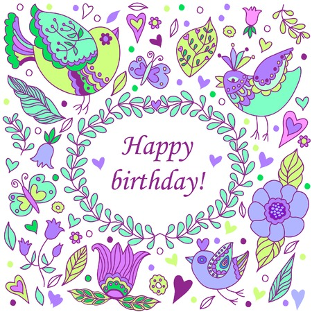 Happy birthday floral frame with birds, doodle invitation background and greeting card. Vector illustration