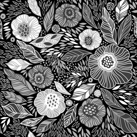 coloration: Decorative floral seamless background pattern in bright green colors. Vector illustration
