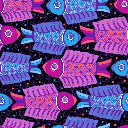 coloration: Crimson and blue fishes decorative seamless background pattern with contour drawing. Textile and wallpaper sea background. Vector illustration