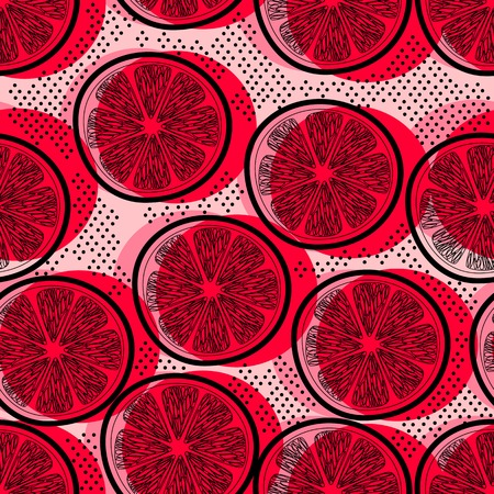 grapefruits: Cut pink grapefruits decorative seamless retro background pattern with contour drawing. Textile and wallpaper fruit background. Vector illustration