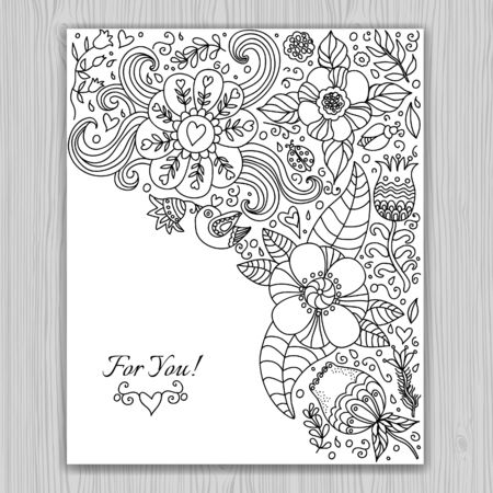 life events: Black and white floral banner for life events, doodle invitation background and greeting card. Vector illustration.  Place for text. Easy to edit. Illustration