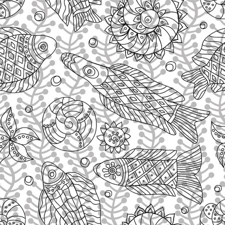 coloration: Decorative contour seamless pattern with marine life and contour drawing seaweeds . Textile and wallpaper sea background. Vector illustration Illustration