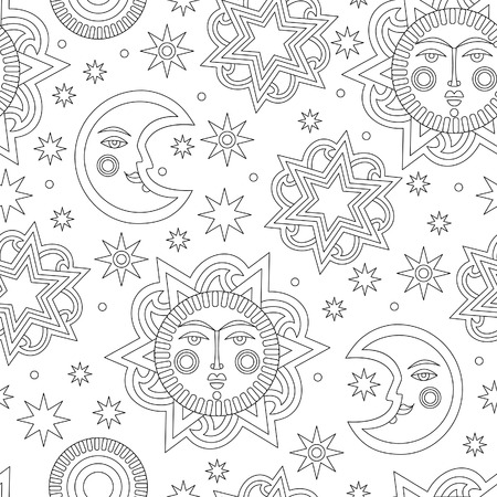 aureole: Wallpaper for childrens room. Contour sun and stars background seamless pattern. Vector illustration Illustration
