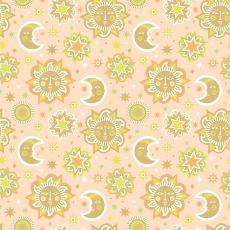 recreation rooms: Sun and stars background seamless pattern. Wallpaper for childrens room. Vector illustration