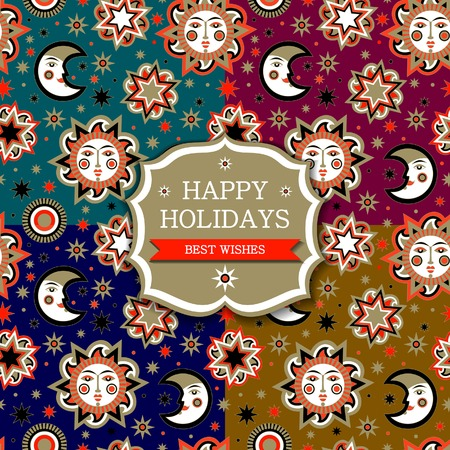 aureole: Set of holiday package with sun and stars seamless pattern background. Collection wallpaper for childrens room. Vector illustration Illustration