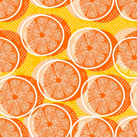 orange cut: Cut orange decorative seamless retro background pattern with contour drawing. Textile and wallpaper fruit background. Vector illustration Illustration