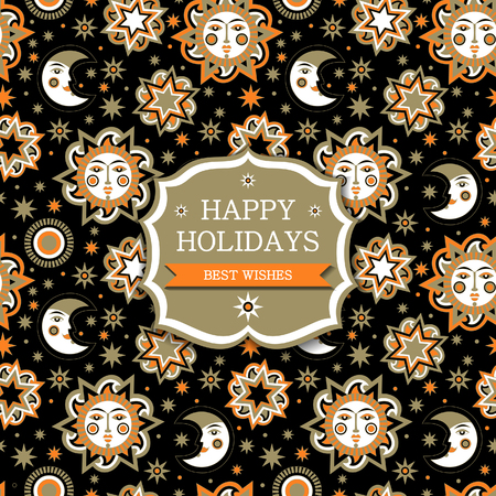 aureole: Greeting card with sun and stars seamless pattern background. Wallpaper for childrens room. Vector illustration