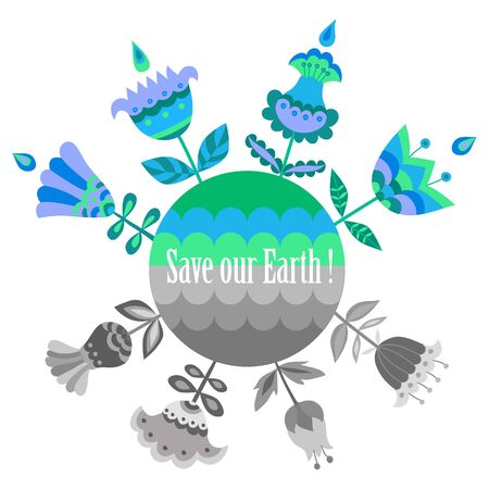 sample environment: Save our Earth blue and green poster template. Vector illustration.