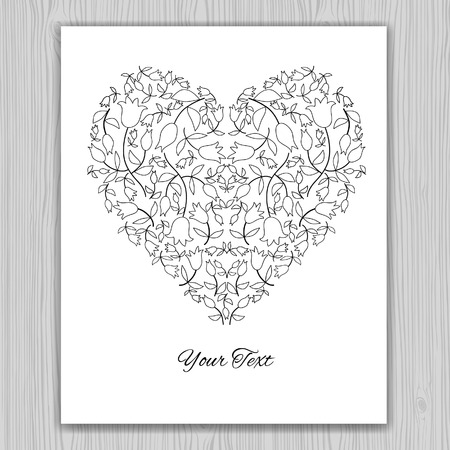life events: Contour valentines day card. Heart banner for life events with contour drawing of flowers. Vector illustration.  Place for text. Easy to edit. Use for invitations announcements.