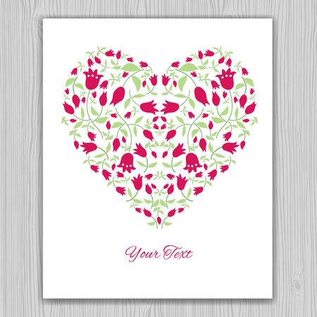 simple flower: Valentines day greeting card with red tulips. Heart banner for life events with contour drawing of flowers. Vector illustration.  Place for text. Easy to edit. Use for invitations announcements.