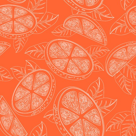 citrus tree: Seamless pattern with orange fruits and leaves. Hand Drawn Monochrome Orange Texture, Decorative Leaves, Coloring Book . Vector illustration.