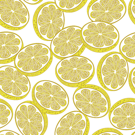 citric: Cut lemons decorative seamless retro background pattern with contour drawing. Textile and wallpaper fruit background. Vector illustration