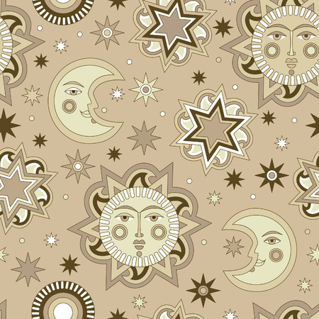 billow: Vector seamless background with sun and stars. Textile and wallpaper background. Vector illustration