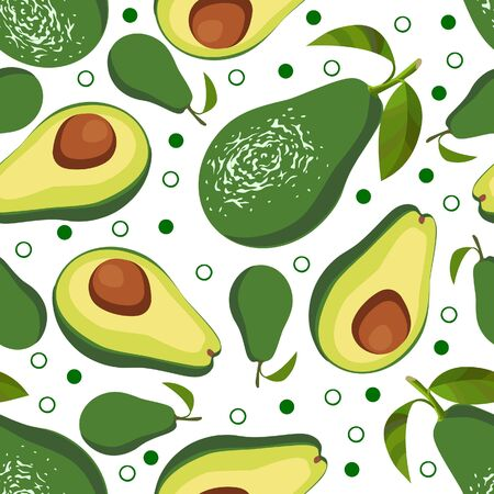avacado: Avocado. Vector seamless background with avocado, half of avocado on white background. Vegetarian. Elements for your design. Textile and wallpaper background. Series of food and drink and ingredients for cooking.