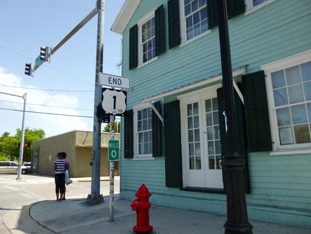 mile: Zero mile sign:Route 1. END Stock Photo